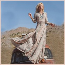 Bohemian Autumn Country Print Frock Long Sleeve Flowing Chiffon Maxi Dress image 4