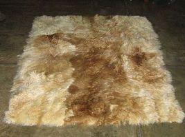 Babyalpaca fur rug from Peru, white brown spots, 300 x 280 cm/ 9'84 x 9'18 - $2,204.00