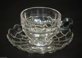"""Old Vintage Clear Glass Web Swag 2-1/2"""" Cup & Saucer Set Unknown Maker MCM - $14.84"""