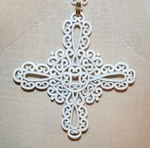 Vtg 1950's Crown Trifari White Enamel Maltese Cross Pendant Necklace - $39.60