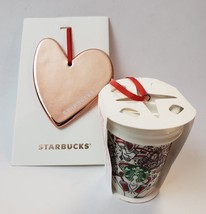 2 Starbucks Christmas Tree Ornaments Red Cup & Rose Gold Heart Holiday 2... - $912,88 MXN