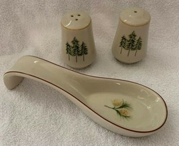 Merry Brite Holiday Home Collection Salt & Pepper Shakers / Spoon Rest P... - $18.80