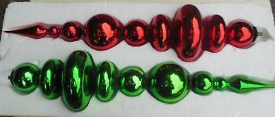 """Very Large Christmas Finials SET OF 2  Decoration Glass 26"""" Red and Green"""