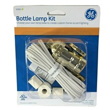 Bottle Lamp Kit GE 250VAC/250W Max  8 FT Cord #50961 White / Gold New  - $12.86