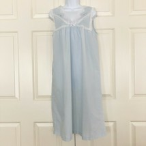 Vintage Barbizon Sleeveless V Neck Lace Embroidered Night Gown Light Blue - $17.18