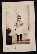 Antique Vintage Photograph Adorable Little Boy in Apron - Spooky Shadow - $6.24
