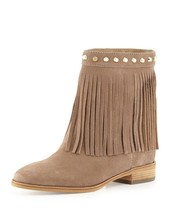 MICHAEL KORS Suede Brown Billy Gold Studded Fringe Ankle Boots $250+   Sz 6 - $127.71