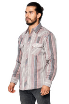 LW Men's Classic Checkered Striped Western Rodeo Pearl Snap Button Up Shirt image 7