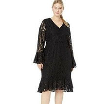 City Chic Womens Plus XXL/24 Black Lace Long Bell Sleeve Lined Bodycon D... - $46.42