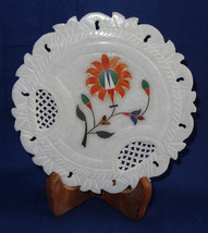 "6"" Marble Plate Hakik Floral Grill Work Inlaid Modern Art Pietra Dura Home Decor - $32.98"