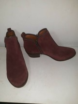 Lucky Brand Bartalino Burgundy Suede Leather Duel Zip Ankle Boot Bootie ... - $21.73