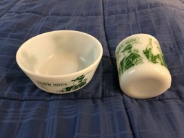 Hazel-Atlas Robin Hood / Little John / Friar Tuck Milk Glass Bowl & Glass - $49.49