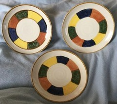 "Sakura Port of Call 'SIOUX' 8.5"" SALAD PLATES - set of 3 Mint! Multi-color - $19.75"
