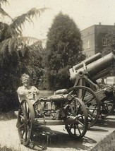 Old Vintage 1943 Wwii Photo U.S. Army Military Soldier & Field Artillery Weapons - $2.99