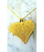 Beautiful NEW Old Stock~24K Gold Dipped LEAF Necklace Pendant on chain n... - $9.49