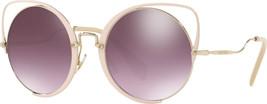 Miu Miu Irregular MU51TS 4UD085 Pale Gold Peach/Violet Mirror Silver Len... - $148.49