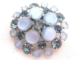 Vintage Domed Blue Glass Moonstone,Cat's Eye & London Blue Rhinestone Br... - $44.55
