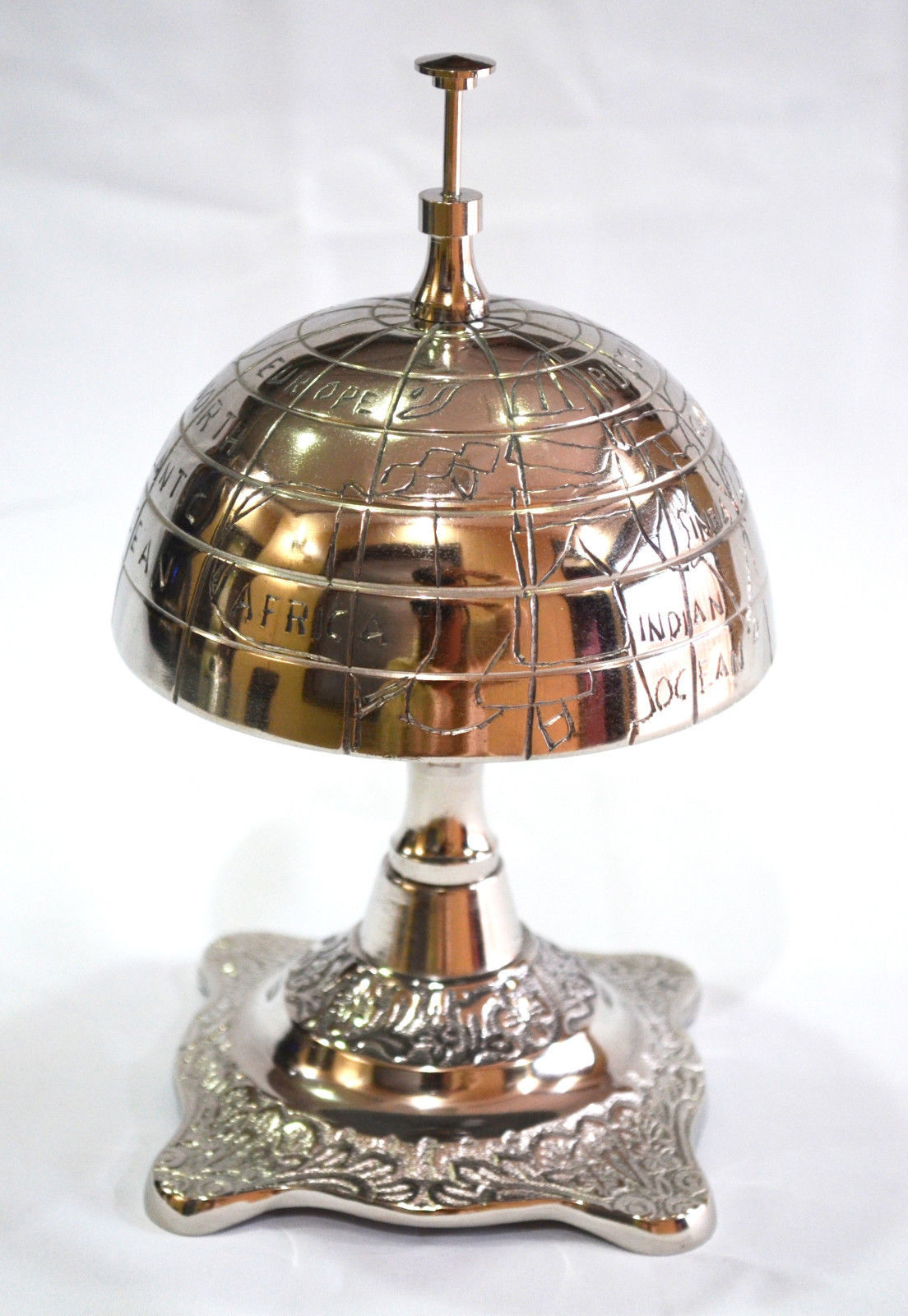 Solid Globe Hotel Counter Desk Bell Antique Style Ring For Service Ding Bells