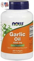 NOW Garlic Oil 1500 mg, Serving Size Equivalent to Whole Clove Garlic 250 count - $10.98