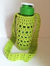 Water Bottle Holder Handmade Crochet 100% Cotton w/ Bottle Lime Green - $6.19