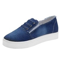 Women's Denim Sneakers Classic Basic Flats Shoes Slip-on Loafers 9 M US, Dark Bl - $39.49