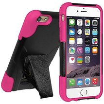 Amzer Double Layer Hybrid Case with Kickstand for iPhone 6 6S- Black/ Hot Pink - $9.85