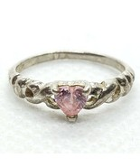 Sterling Silver 925 Pink Ice CZ Heart Ring Size 3.5 FREE Shipping - $15.99