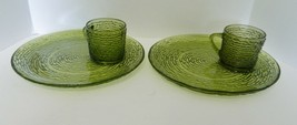 Anchor Hocking Soreno Avocado Green Bark Design Two Snack Plates and Cups - $21.66