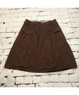 H & M Full Brown Cotton Skirt Womens Sz 14 100% Cotton Pockets - $19.79