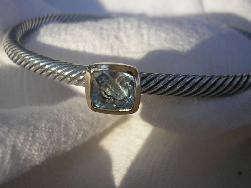 David Yurman 4mm BLUE TOPAZ NOBLESSE SS18K Bracelet