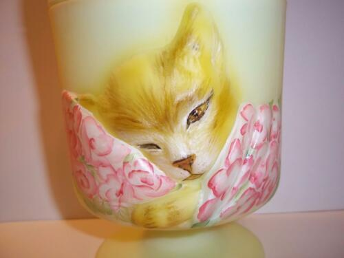 Fenton Glass Buttercream Yellow Chessie Railroad Cat Box Brown Tabby Ltd Ed #1/3