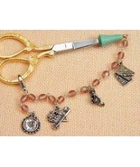 """Carlotta Rose Scissor Tippers protector 6"""" pewter charms czech glass beads  - $20.00"""