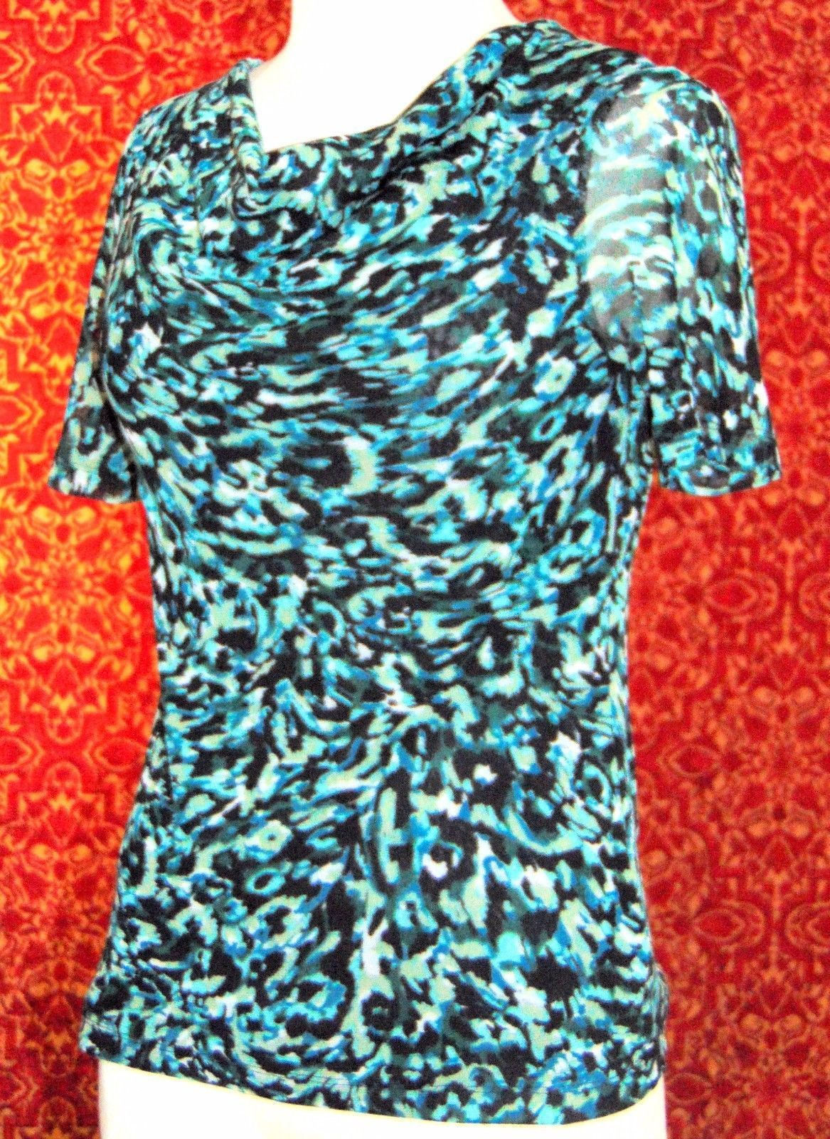ELLEN TRACY STRETCH teal camouflage short sleeve mesh blouse S (T09-02G8G) image 3