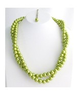 Olive Green Pearl Twisted Necklace Double Strand Necklace Bridal Party N... - $16.80