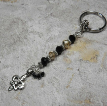 Crystal Fleur De Lis NOLA Beaded Handmade Keychain Split Key Ring Black ... - $14.54