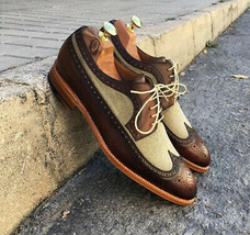 Beige Brown Wing Tip Rounded Toe Men Premium Leather Customized Oxford Shoes - $139.99+