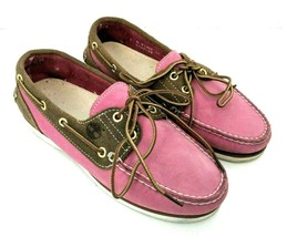 Timberland Womens Size 7 Boat Loafers Shoes Leather Suede Brown & Pink  - $34.64