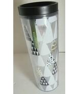 Starbucks 16 Oz Tumbler Christmas Holiday Trees Silver Logo White Black ... - $14.80