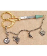 """Carlotta Double Link Scissor Tippers protector 6"""" pewter charms czech gl... - $20.00"""
