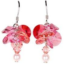 Woodstock Jewels Garden Reflections Swarovski Elements Pink Rose Earrings