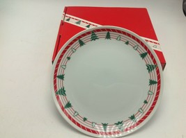 Vintage 1980s Christmas Tree Dessert Plate Set Of 4  Hand Decorated Porc... - $16.93
