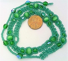 Green Cat Eye Beaded Daisy Chain Necklace - $16.99