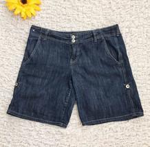 Calvin Klein Dark Wash Denim Shorts Size 10 Cotton Light Weave Modest - $9.30