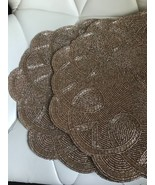 Nicole Miller GOLD FLOWER Beaded Placemat Charger Set of 2 ~NEW ~ - $45.99