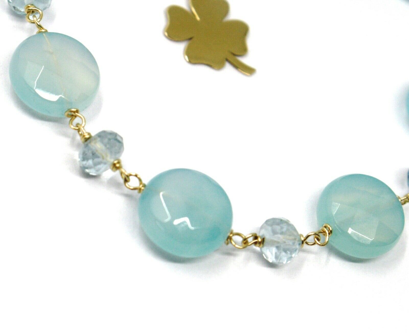 18K YELLOW GOLD BRACELET OVAL FACETED AQUAMARINE AGATE, FOUR LEAF CLOVER PENDANT