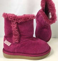 Stride Rite Girls Arabella Boot Pink Faux Fur Lined Suede Leather Side Z... - $19.79