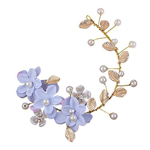 Blue Flower Pattern Hand Made Wedding Head Beauty Supplier, 28x7 cm