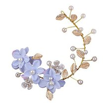 Blue Flower Pattern Hand Made Wedding Head Beauty Supplier, 28x7 cm image 1