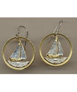 "Bahamas 25 cent ""Sail boat"" ""nickel"" Gold on Silver cut coin earrings - $123.00"