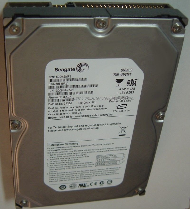 "New ST3750640AV Seagate 750GB 7200RPM IDE PATA 3.5"" Hard Drive Free USA Shipping"